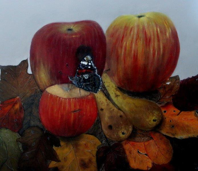 Red admiral on fruit 70 x 70 cm