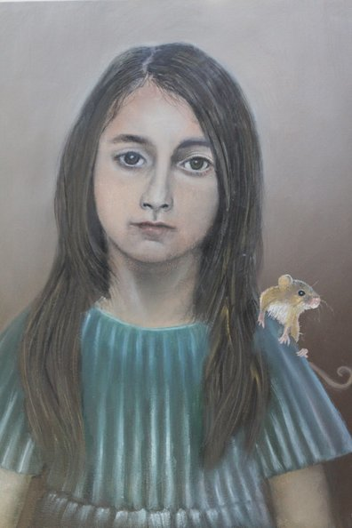 Girl with harvest mouse 50 x 60 cm