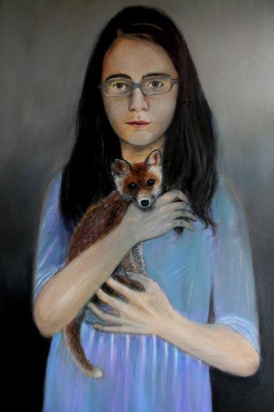 Girl with baby fox 70 x 100 cm