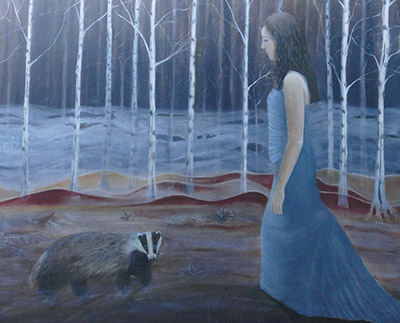 Sara meets a badger 100 x 120 cm